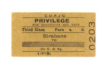 Fahrkarte Zug Irland Vintage Train Tickets Ireland alt old beige Strabane 0203 dritte Klasse third class Privilege