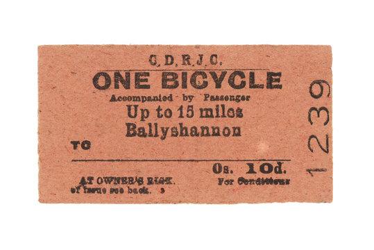 Fahrkarte Zug Irland Vintage Train Tickets Ireland alt old retro rot red Fahrrad bicycle 1239 Ballyshannon