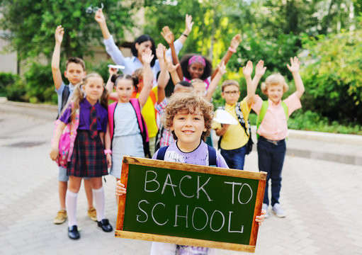 "little  schoolboy with curly hair on the background of a group of children classmates holding a sign with the inscription ""back to school."""