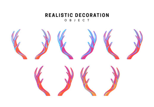 Set of deer and elk antlers with gradient holographic color of holograms. Decorative design elements. Realistic shape 3d objects