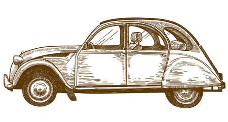 Fototapeta engraving drawing illustration of vintage car obraz