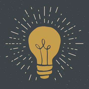 Light bulb symbol vintage label, grunge textured retro badge, typography design vector illustration