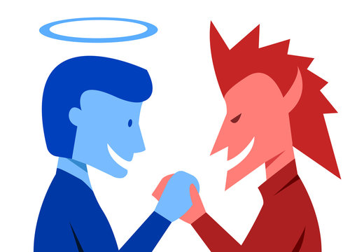 God and evil are shaking hands together, vector