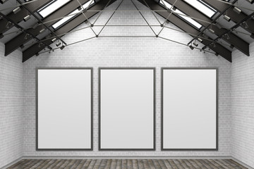 Blank  poster mockup on the white brick wall