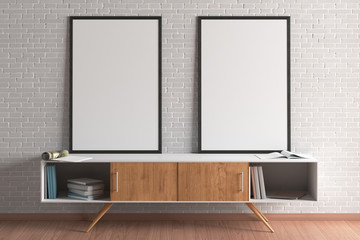Blank  poster mock up  on cabinet in living room interior