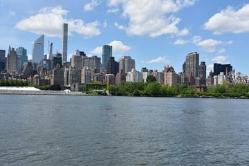 View of Manhattan Skyline from Gantry Plaza State Park in Queens, New York