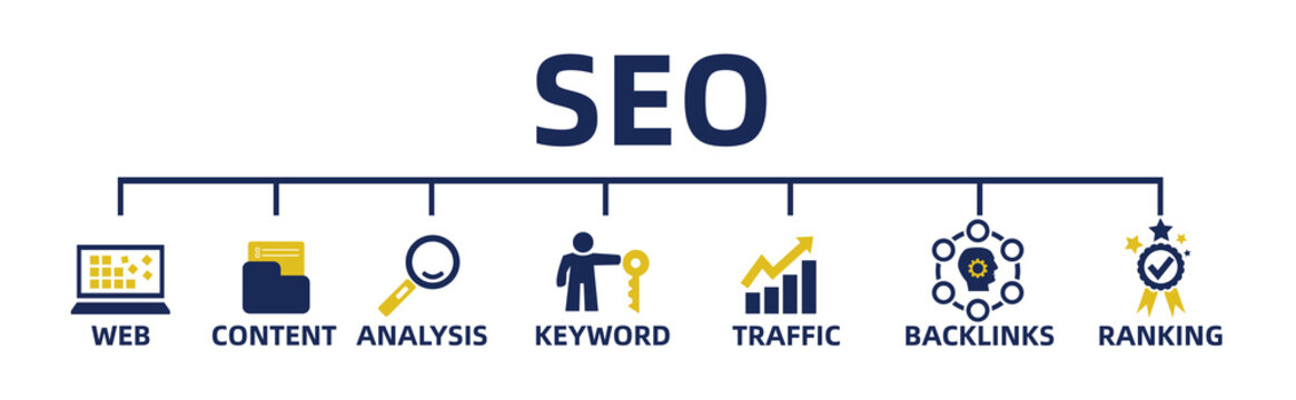 SEO search engine optimization concept. web banner with icons and keywords