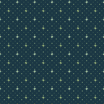 Abstract seamless pattern with small scale squares, rhombuses and diamonds. Vector illustration in shades of cream, green and olive.