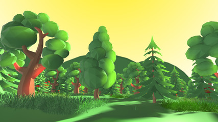 Scenic low poly outdoor in green nature forest landscape 3d render Cartoon - 3D illustration rendering