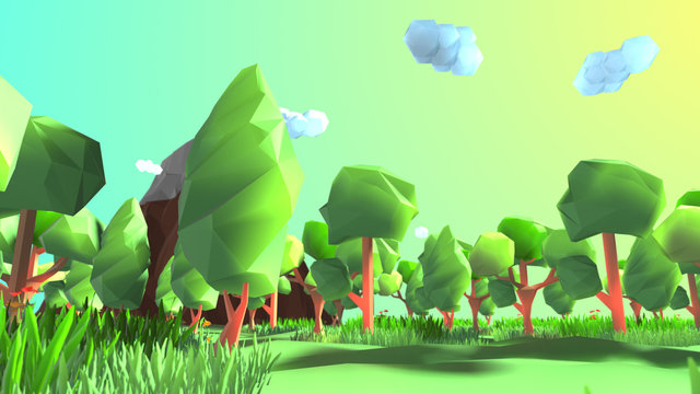 Conceptual 3D illustration of a beautiful scenic low poly nature landscape of a green forest with grass and trees in a mountain valley