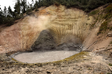 Boilng volcanic mud in Yellowstone Wyoming