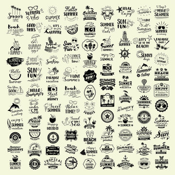 Collection of 100 Summer logotypes set. Summer typography, logos, badges, labels, icons and objects.