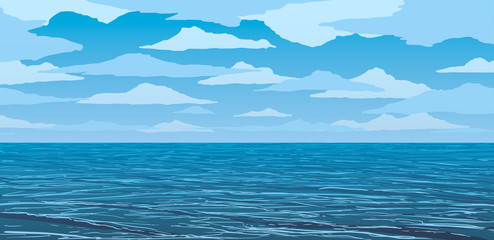 vector blue calm ocean shore