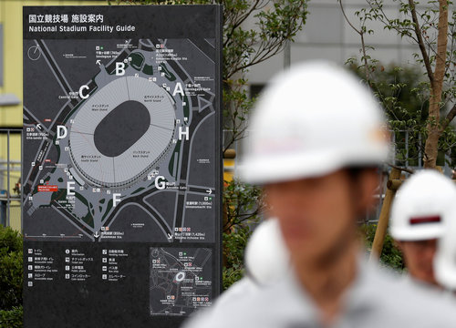 A facility guide map is displayed at the construction site of the New National Stadium, the main stadium of Tokyo 2020 Olympics and Paralympics, during a media opportunity in Tokyo