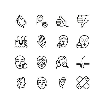 Skin and face line icon set