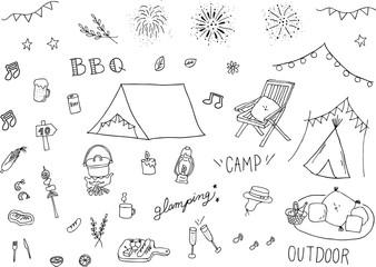 キャンプ イラスト セット