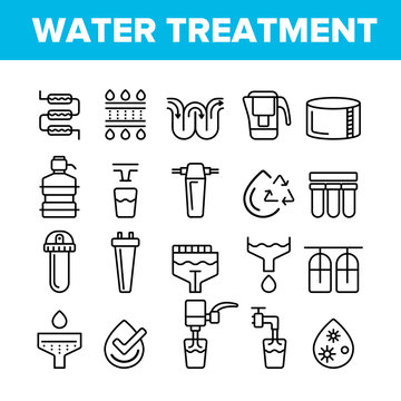 Water Treatment Vector Thin Line Icons Set. Water Treatment, Professional Equipment for Purification Linear Pictograms. Antibacterial Filters, Liquid Cleaning Circles System Contour Illustrations