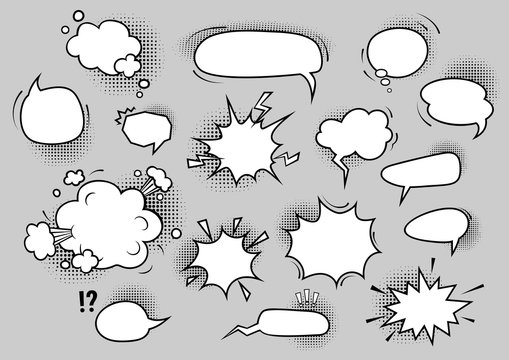 Speech bubbles set. Cartoon blank comic bubbles with halftone shadows. Communication concept. Vector illustrations can be used for surprise messages, announcement, advertising