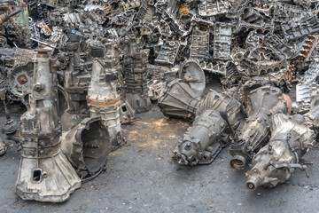 Aluminum engines and transmission parts for recycling. Scrap metal recycling Wall mural