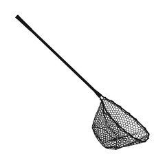 Fishing landing net black simple icon vector