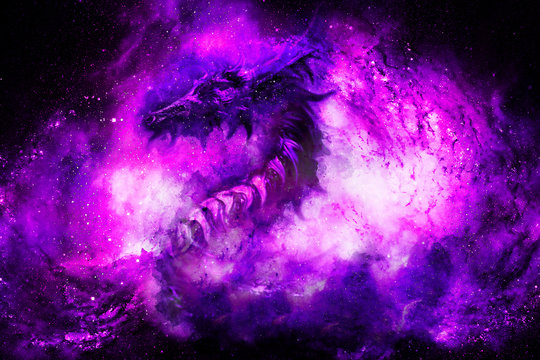 Cosmic dragon in space, cosmic abstract background