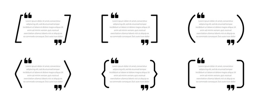 Set of quote boxes. Speech bubbles isolated on white background