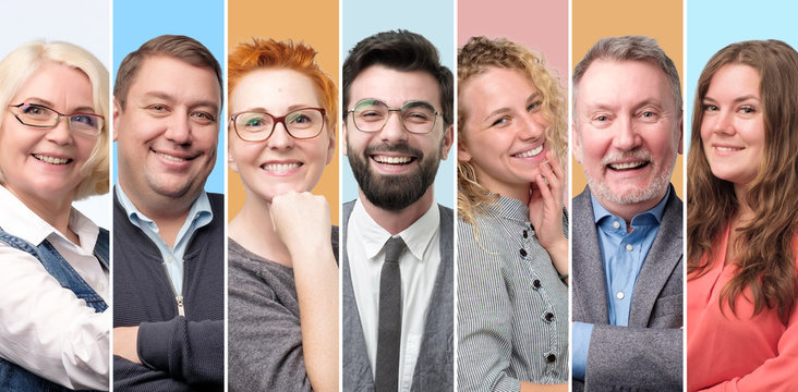 Collection of avatar of people. Young and senior men and women faces on pink color. Positive human emotion. Concept of diversity and individuality in modern community.