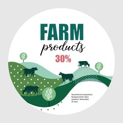 Cows graze in the meadow. Round background for design of agricultural products.