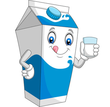 Cartoon milk box holding a glass of milk
