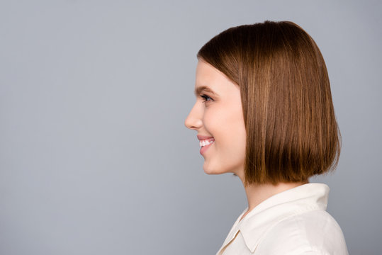 Close up side profile photo beautiful amazing she her lady look interested curious listen empty space colleagues gathering wondered learn news wear casual white shirt isolated grey background