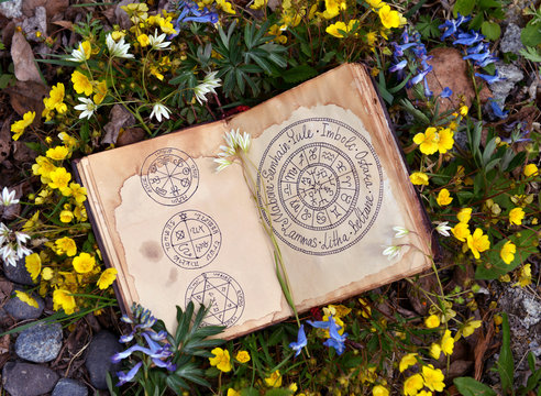 Open book with wiccan festivals chart among spring flowers.