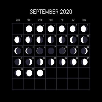Moon phases calendar for 2020 year. September. Night background design. Vector illustration