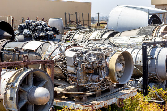 The ruins of several retired aircraft engines and parts