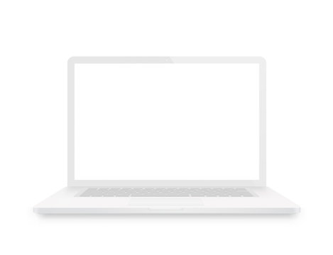 White laptop. Front view - stock vector.