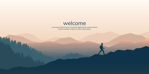 The traveler goes to the mountains with a backpack. Vector illustration Wall mural