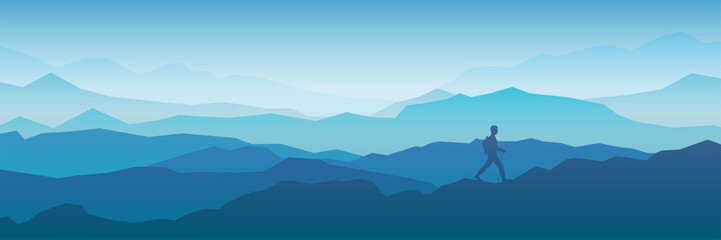 Foto op Plexiglas Blauwe jeans The traveler goes to the mountains with a backpack. Vector illustration