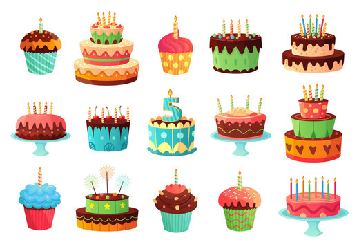 Cartoon birthday party cakes. Sweet baked cake, colourful cupcakes and celebration cakes. Birthdays holiday dessert, anniversary cake and cupcake decoration. Isolated vector illustration icons set