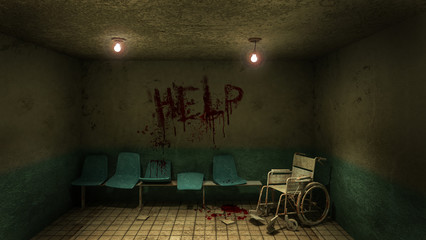 Horror and creepy seat waiting and wheelchair in front of the examination room in the hospital and help Blood .3D rendering