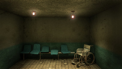 Horror and creepy seat waiting and wheelchair in front of the examination room in the hospital.3D rendering
