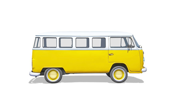 Isolated old, cult, hippie yellow van