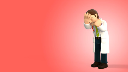 Sad cartoon 3d doctor with a stethoscope doing a facepalm on a red gradient background 3d rendering