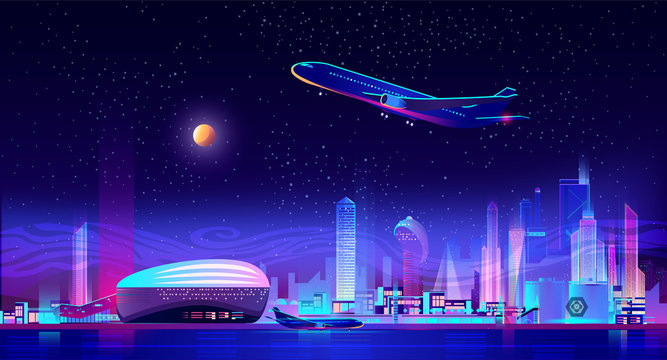 Night charter from city airport cartoon vector. Airliner taking off from runway, standing on ground near futuristic architecture terminal, metropolis skyscraper illuminating on background illustration