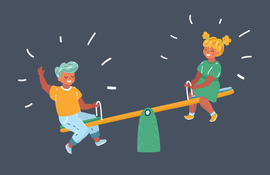 Schoolboy and a schoolgirl on a seesaw.