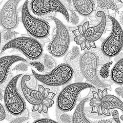 Black and Grey Magical Traditional Paisleys Seamless Pattern for wallpaper design or fabric textile printing