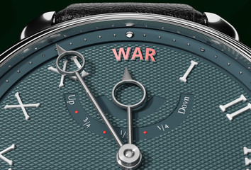 Achieve War, come close to War or make it nearer or reach sooner - a watch symbolizing short time between now and War., 3d illustration