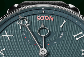 Achieve Soon, come close to Soon or make it nearer or reach sooner - a watch symbolizing short time between now and Soon., 3d illustration