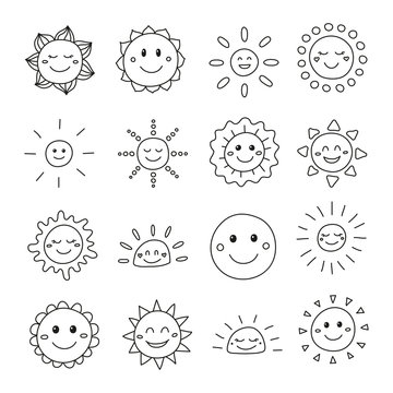 Set of doodle smiley sun icons.