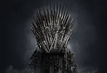 Medieval iron throne of kings made of weapons: swords, daggers, spears, knives blades. Misterious low key middle ages fantasy background design element.  Dark knights game concept. 3D