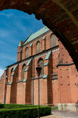 view of Bad Doberan gothic cathedral on a bright sunny day