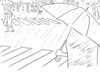雨の日の交差点。一人佇む傘を差した人。色なし、線画、ラフ画